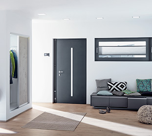 Schuco Aluminium Entrance Doors Marezzato Grey for All Entrance Types and Electronic Access Control