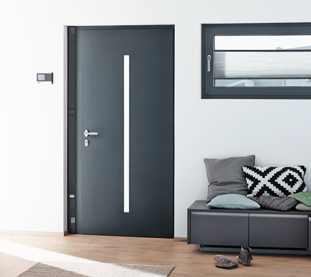 Quality Aluminium Doors Schuco Grey Marezzato for All Entrance Types and Electronic Access Control