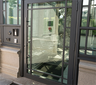 Glass and Aluminium Doors with Decorative Crossbars and Electronic Access Control