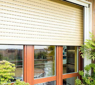 Aluminium Rolling Shutters Light Brown Color for Residence in City Center