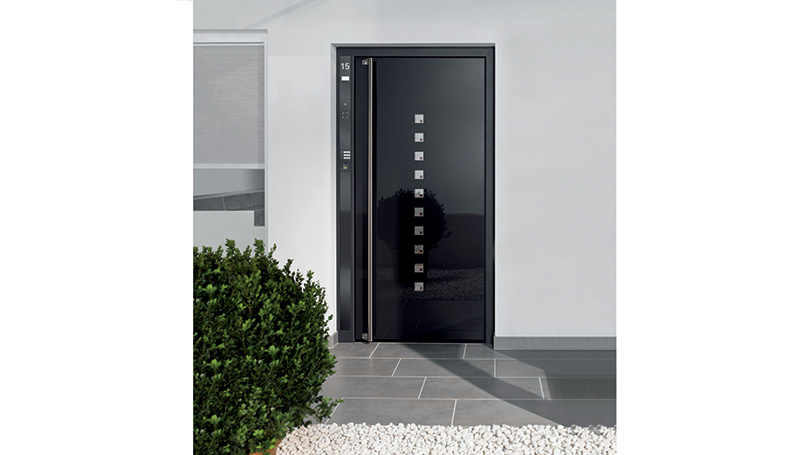 Aluminium Condominium Doors with Aluminium and Glass Mixed Panel Full Height Handle and Glass Inserts Video entry system Civic Number Integrated in the Structure
