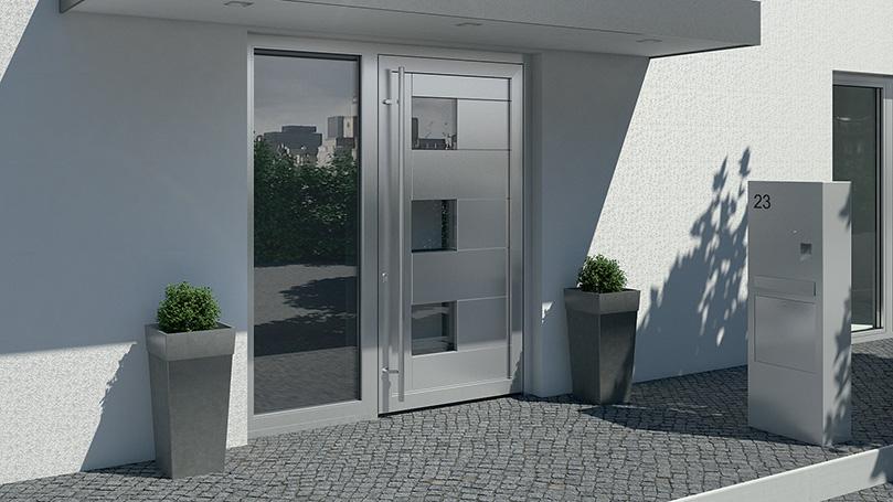 Aluminium Condominium Doors with Aluminium and Glass Mixed Panel Full Height Handle and Fixed Mirroring