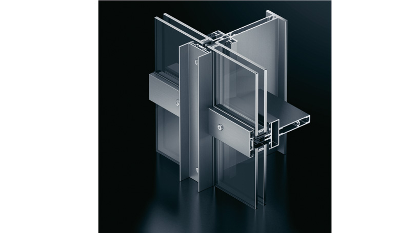 profile of aluminium curtain walls with mullions and transoms and exposed roof profiles and exposed fastening elements