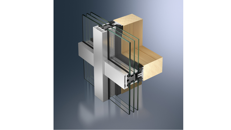 Aluminium curtain walls for wooden structures with mullions and transoms and exposed roof profiles