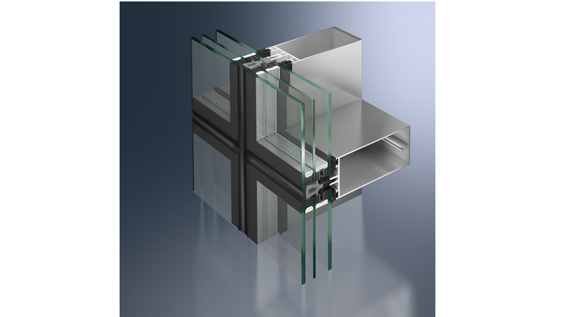 profile of Aluminium curtain walls with Mullions and transoms Triple glazing