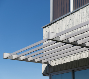 Fixed Aluminium Sunshades for Office Building Facade