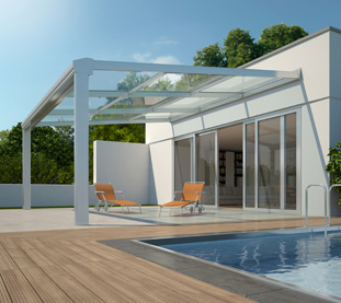 Outdoor Roofing type Pergola with Aluminium Structure, Glass Roofing and Shading System Integrated in the Structure