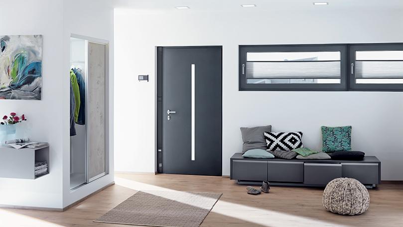 Schuco Aluminium Entrance Doors Marezzato Grey for All Entrance Types and Electronic Access Control