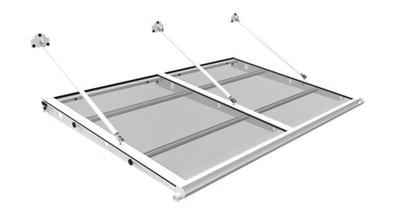 Aluminium carport with wall-fixed tie-rod structure and panels in hail-resistant plastic material