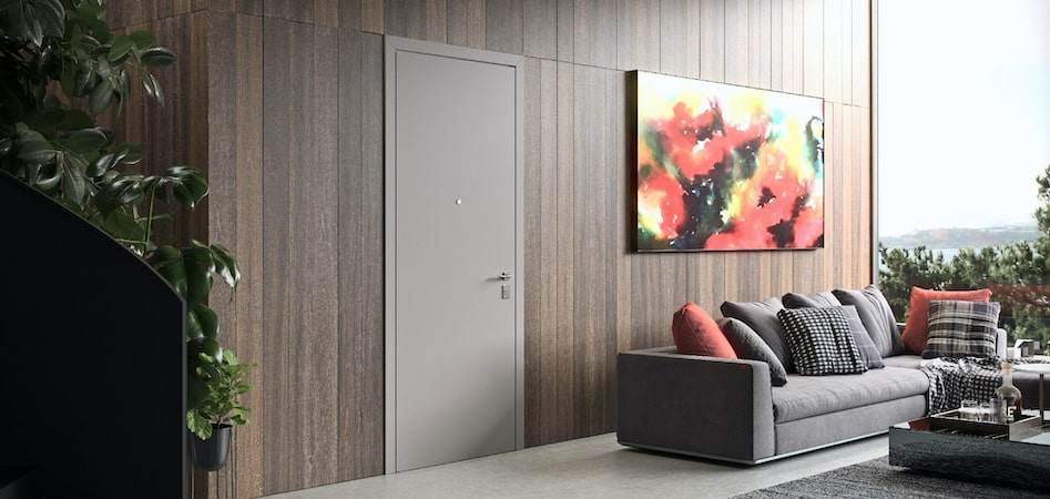 Security entrance doors with designer wood panelling
