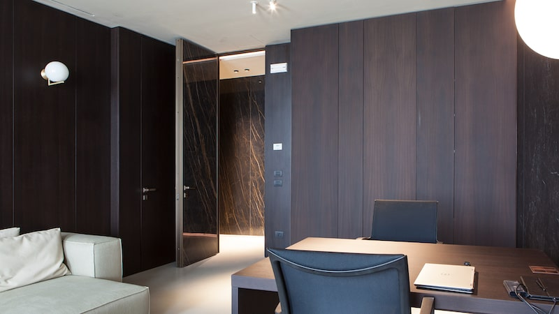 interior security door with stone cladding