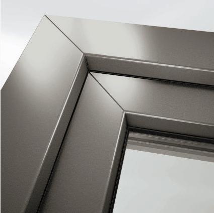 finitura metallizzata dei profilo di serramenti in pvc di aluser