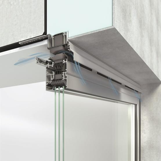 particolare di funzionamento del sistema ventoframe di schuco per la ventilazione interni dei serramenti in alluminio
