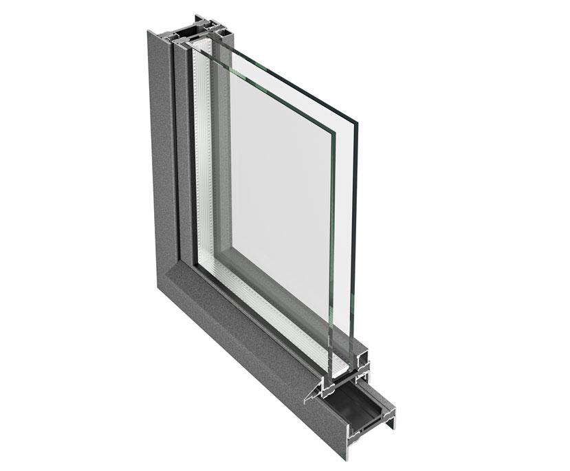 profilo di serramenti in alluminio con sezione minima per una maggiore luminosità degli ambienti