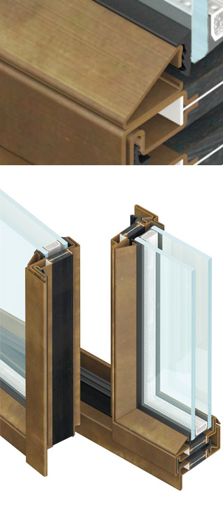 secco serramenti particolare fermavetro forma triangolare OS2 75 di Aluser