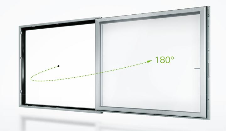sistema simplysmart per le finestre in alluminio di schuco che permette apertura a 180 gradi