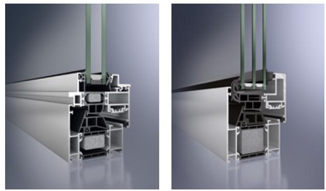 sezione di profili di finestre in alluminio schuco