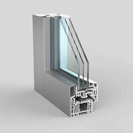 profilo serramento in pvc di schuco modello total light con spessore minimo del profilo