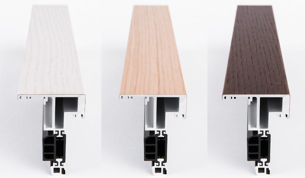 profili per infissi schuco smartwood sistema in alluminio con pellicola di legno vero coprente