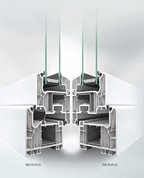 profili di finestre spi in pvc modello isol plus che mette a confronto la soluzione con doppia e tripla guarnizione