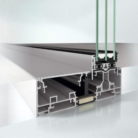 section of the schuco ase 67 panoramic sliding system