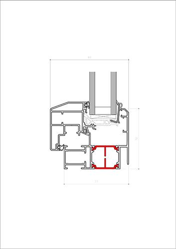 technical section of aluminium thermal break windows and doors