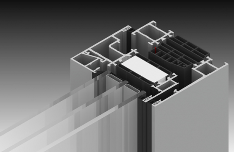 detail of a thermal break window frame