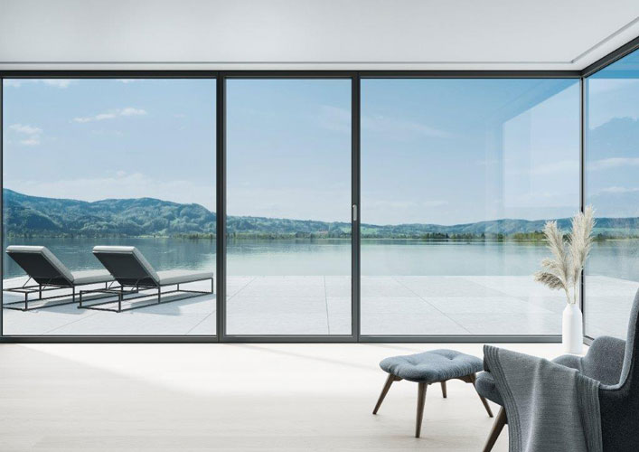 design sliding door that uses a thermal break profile that overlooks the lake
